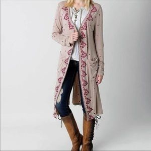 POL Embroidered Duster Cardigan